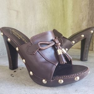 YSL brown leather wooden clogs